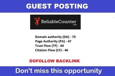 Guest Post on Reliablecounter.com DA 73 PA 47 - Dofollow links