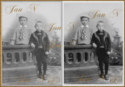 Reconstruct, restore and enhance one damaged photograph