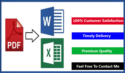 convert from PDF/Scanned PDF/Images to Ms word/Excel