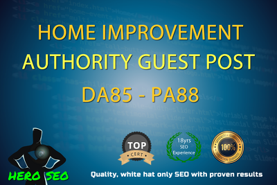 Write a guest Post on Home Improvement blog  DA85 PA88