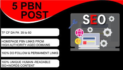 Homepage high DA PA CF TF 35 Plus 5 PBNs Backlinks