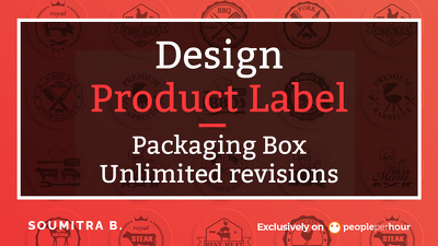 Design product label or packaging Box with up to 4 variation