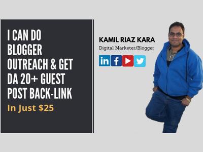 I Can Do Blogger Outreach & Get DA 25+ Guest Post Back-link