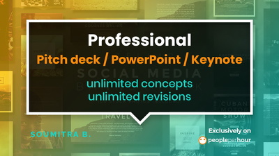 Design a professional pitch deck / PowerPoint / keynote