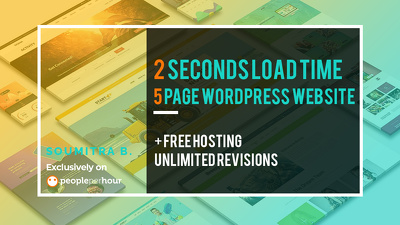 Design 5 pg WordPress website that loads in 2 sec+FREE HOSTING