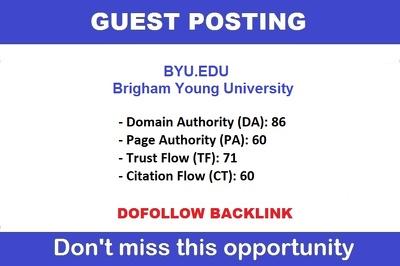 DOFOLLOW guest post on Brigham Young University - byu.edu DA 91