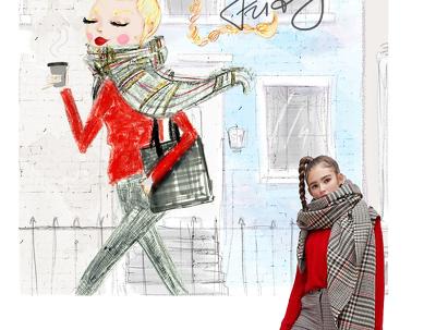 Draw digital custom fashion portrait from photo