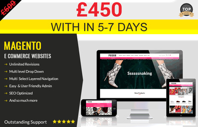 Responsive eCommerce website online shop Magento/Wordpress Store