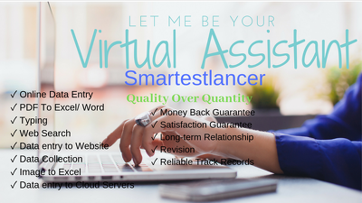 I Will Be a Virtual  Assistant to do Data entry, Web search etc
