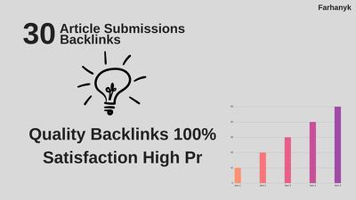 Provide 30 Unique Article Submission With Da50+ Unique Domain