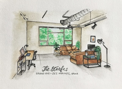 Ink and watercolor your home, interior or wedding venue