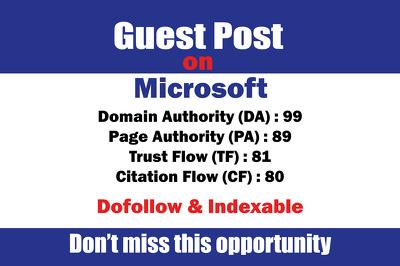 Guest Post On Microsoft DA-99, TF-81 Dofollow Links