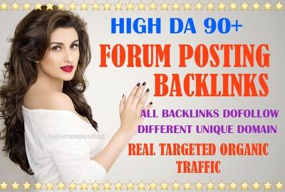 I will give you 20 high da dofollow forum posting backlinks