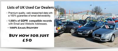 gDPR compliant database of 2.5K+ Used Car Dealers in UK