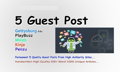 Write And Publish 5 High Quality Guest Posts On DA 60+