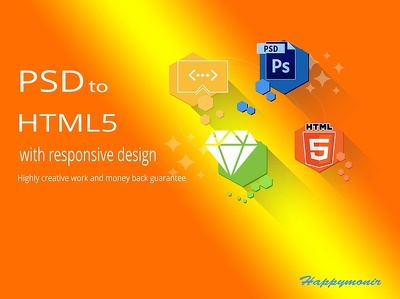Convert PSD to responsive HTML using Bootstrap4