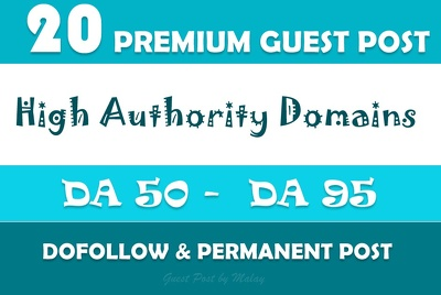 Guest Post Package - 20 Posts on High Authority Websites - DA50+