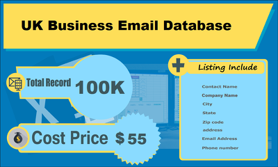 Provide you 100K Business Email Database from UK