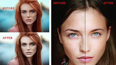 Professionally skin retouching or enhancement 3 photos