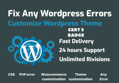 Do Wordpress Customization I Fix any Errors & Bugs