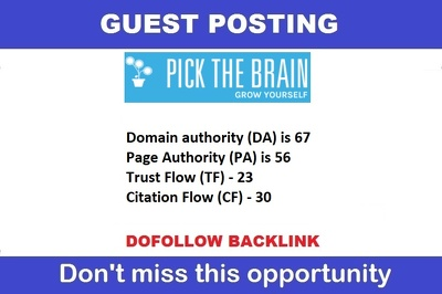 Guest post Pickthebrain.com, Pickthebrain DA 67, PA 56