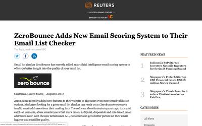 Press release on Reuters.com with a do-follow Link DA 95