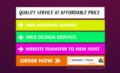 Web Design service, Setup Web hosting, install wordpress theme
