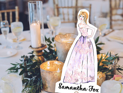 Draw personalized wedding table cards and invitations