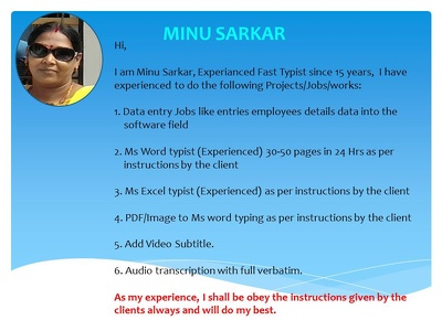 As per instruction by the client/nature of job