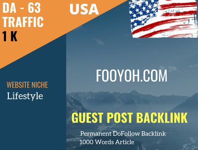 USA Lifestyle Related 1000 Traffic 63 DA Guest post link