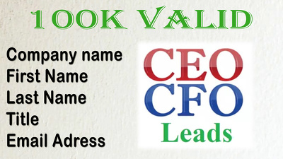 provide 100k  Valid CEO And CFO Leads