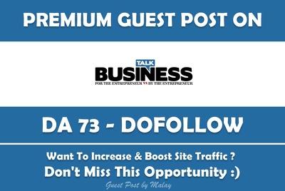 Guest post on Talk-business.co.uk business website - DA 45