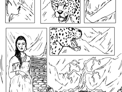 Draw a short comic, black&white illustration or character design