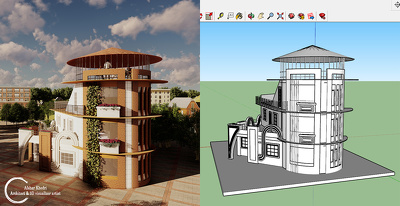 Model your 2D autocad file by sketchup and render it by lumion