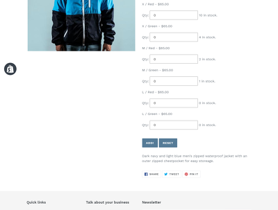 add multiple variants of a product to cart