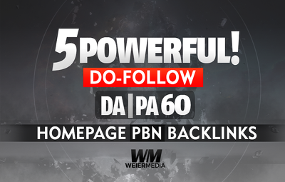 Build 5 POWERFUL DA PA 60 Dofollow Homepage PBN Backlinks