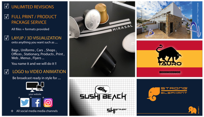 Logo+full service print/product package + free video animation