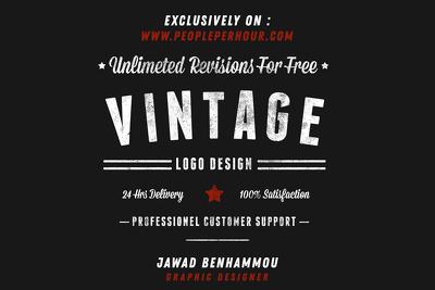 Design 2 custom retro vintage logo for