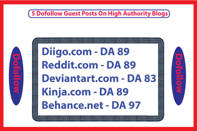 Write And Publish 5 Dofollow Guest Posts On High DA Blogs