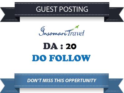 Write guest post at Insomari-travel.com DA 20 & Do follow