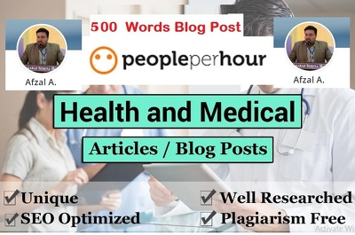 Write 500 word  health and medical SEO articles, blog posts,