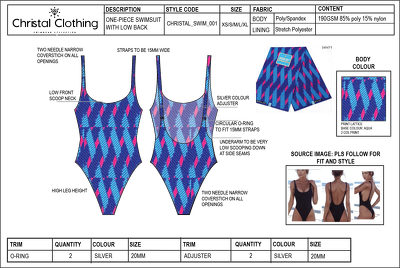 CAD your clothing garment and create factory technical sheet