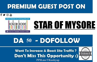 Top News SIte Guest Post Site DA 50 starofmysore.com Do Follow