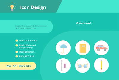 Design 5  icons in any style  for your app, web or brochure