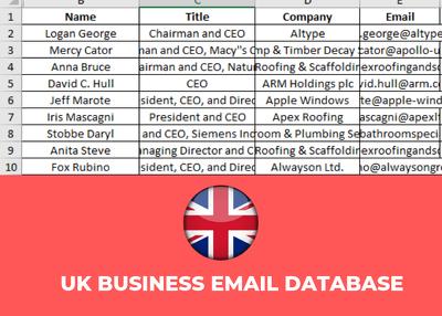Provide 750K UK Business Email Database