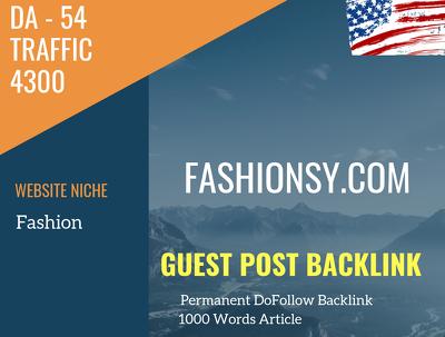 USA Fashion Related 4300 Traffic 54 DA Guest post link