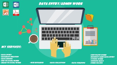 Do accurate data entry, typing, web research for 2 hours