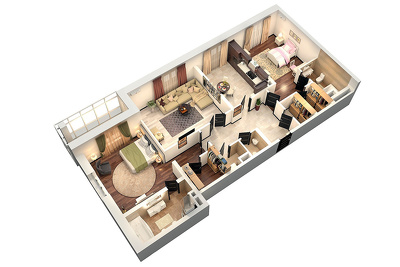 Convert your 2D plan to 3D floor plan renders.