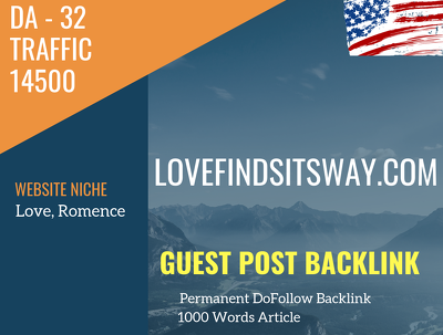 USA Love, Romence Related 14500 Traffic 32 DA Guest post link