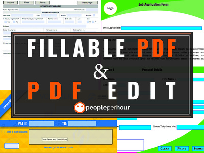 Design Fillable PDF Forms up to 5 pages or more and PDF edit